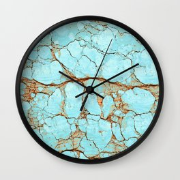 Cracked Turquoise & Rust Wall Clock