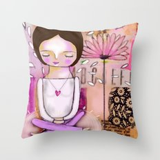 Om meditation woman Throw Pillow