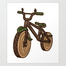 Nature Bicycle   Wooden Earth Day Illustration Art Print