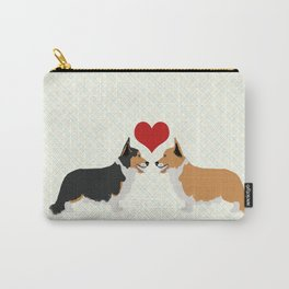 Pembroke Welsh Corgi Dogs Art - two corgis in love Carry-All Pouch