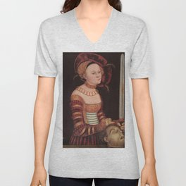Lucas Cranach the Elder and Workshop - Portrait of a Lady of the Saxon Court as Judith with the Head Unisex V-Neck