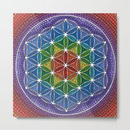 Rainbow Happy Flower of Life Metal Print