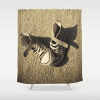 sneaker Shower Curtains featuring Lost shoes by Maria Heyens