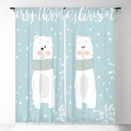 Cute Polar Bear Mint Blackout Curtain