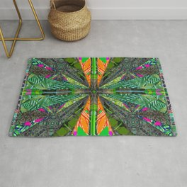 number 223 green pink yellow pattern Rug
