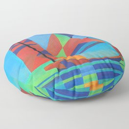 Cubist Abstract Junk Boat Against Deep Blue Sky Floor Pillow