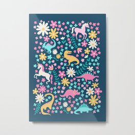 Floral Burst with Dinosaurs + Unicorns in Neon Metal Print