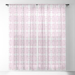 geometric pattern concentric squares pink Sheer Curtain