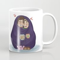 blankets Mugs featuring blankets-burrito by smargo64