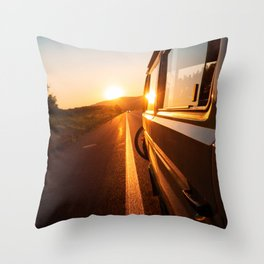 Sunset Travels Van (Color) Throw Pillow