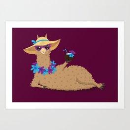 Bahama Llama Art Print