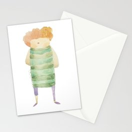 Bird Girl Character in Stripes and Plaid Stationery Cards