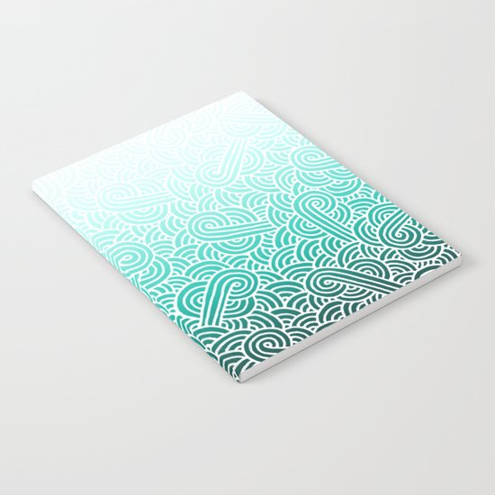 Ombre turquoise blue and white swirls doodles Notebook