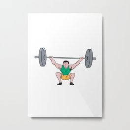 Weightlifter Deadlift Lifting Weights Cartoon Metal Print