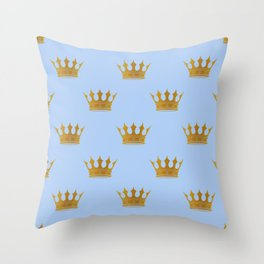 Louis Blue Gold Crown Prince of Cambridge Throw Pillow