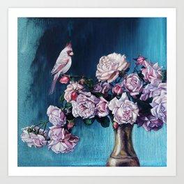 CARDINAL'S ROSES Art Print