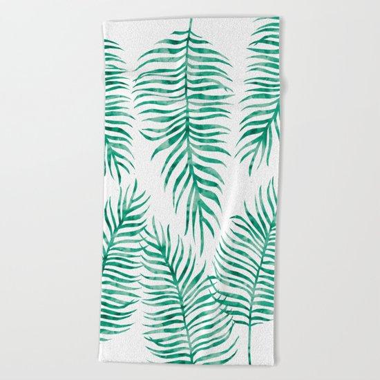 Fern Pattern Green Beach Towel
