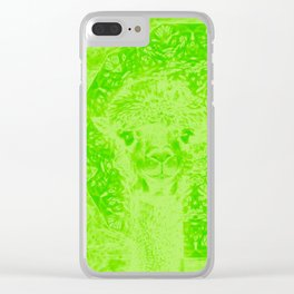 Ghostly alpaca and mandala in Green Flash Clear iPhone Case