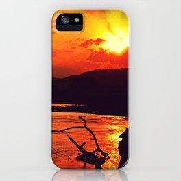 African River Sunset Leopard iPhone Case