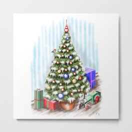 Oh Christmas Tree, So Safe and Secure! Metal Print