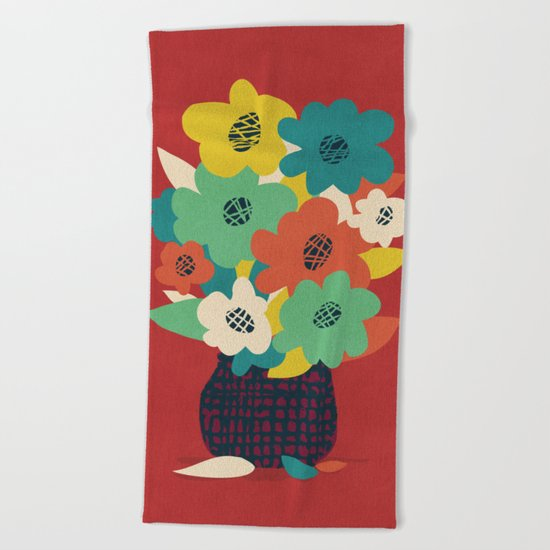 Paper Flowers Beach Towel