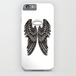 Angel Wings and Halo | Black and White | iPhone Case