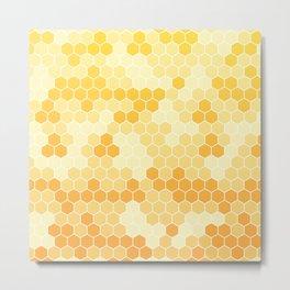 Honeycomb Yellow and Orange Geometric Pattern for Home Decor Metal Print