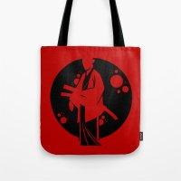 samurai Tote Bags featuring Samurai by Artistic Dyslexia