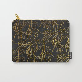 AUTUMN 1 - gold leaves on chalkboard background Carry-All Pouch
