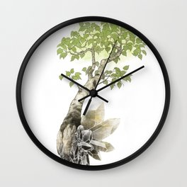 Birch Tree and Howlite Crystals Wall Clock