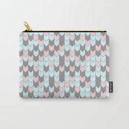 Modern coral teal gray geometrical zigzag chevron Carry-All Pouch
