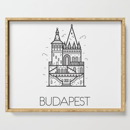 Budapest Hungary Black and White Serving Tray