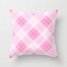 Pink Plaid Pattern Throw Pillow