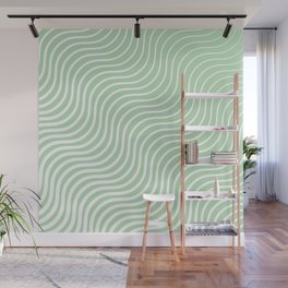 Whisker Pattern - Light Green & White #440 Wall Mural