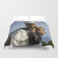 nurse Duvet Covers featuring Kissing Sailor And Nurse Portrait by Christiane W. Schulze Art and Photograph