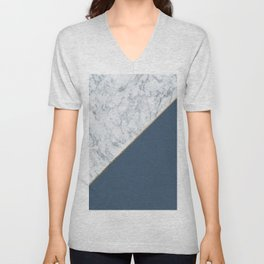 Elegant mauve blue white marble faux gold geometric Unisex V-Neck