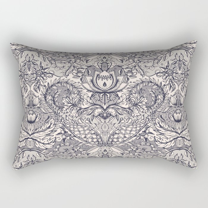 Natural Rhythm 2 - a hand drawn pattern in charcoal & cream Rectangular Pillow