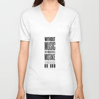 nietzsche V-neck T-shirts featuring Lab No. 4 - Friedrich Nietzsche Quote life music typography poster by Lab No. 4