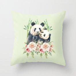 Cute Panda Bears Cuddling Watercolor Throw Pillow
