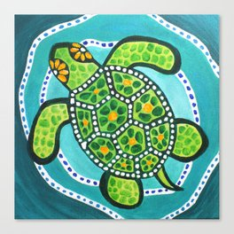 Funky Green Turtle Canvas Print