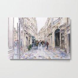 Paris France Street in the Rain — Watercolor art print Metal Print