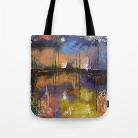 fireworks Tote Bags featuring Fireworks by Michael Creese