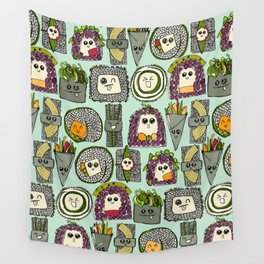 veggie sushi mint Wall Tapestry