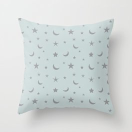 Grey moon and star pattern on baby blue background Throw Pillow