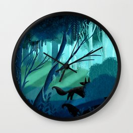 Shadow Wolves Stalk The Silver Wood Wall Clock