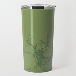 Lodge series - Deer (green on cream) Travel Mug