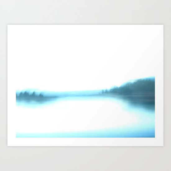 morning blurry lake in New Hampshire Art Print