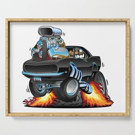 Classic Sixties American Muscle Car Popping a Wheelie Cartoon Illustration Serving Tray
