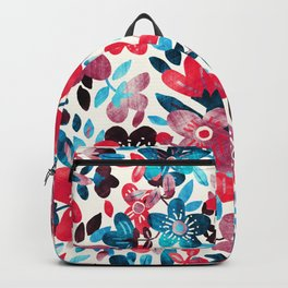 Happy Red Flower Collage Backpack