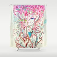 clover Shower Curtains featuring Floral clover by /CAM